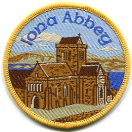 Iona Abbey Sew On Woven Badge 7cm Circle