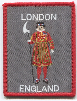 London Beefeater Sew On Woven Badge 6.5cm x 8.5cm