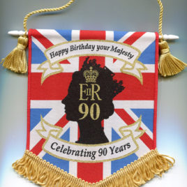 Queen Elizabeth's 90th Birthday Woven Pennant