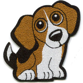 Beagle Iron On Woven Badge 5.5cm x 5.4cm