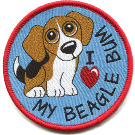 "My Beagle bum ""Sew On"" Woven Badge 8cm circle"